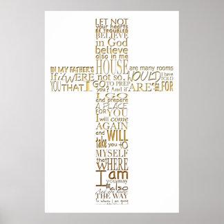 Christian Cross golden Bible Verses Poster