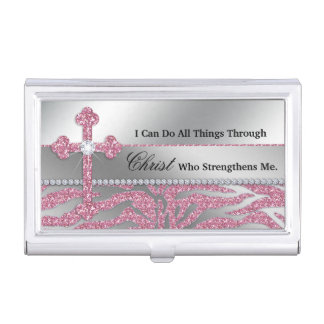 Christian Cross I can do all things through Christ Case For Business Cards