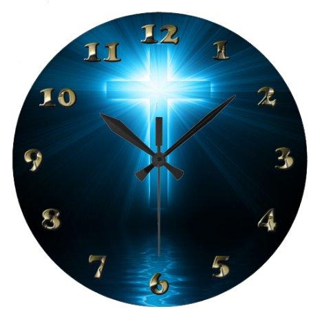 Christian Cross in Blue Light Large Clock