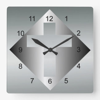 Christian Cross in Silver Color Square Wall Clock