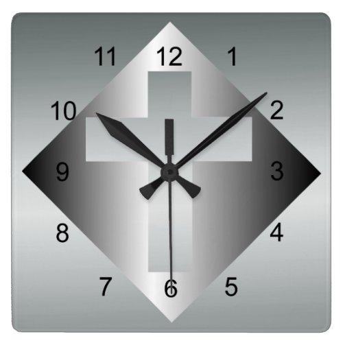 Christian Cross in Silver Color Square Wall Clock