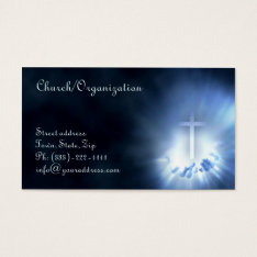 Christian Cross In The Hands Blue Business Card at Zazzle