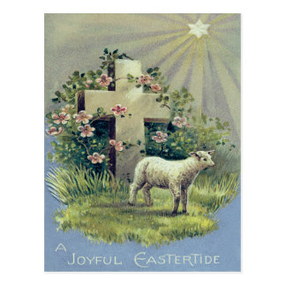 Christian Cross Lamb Star Postcard