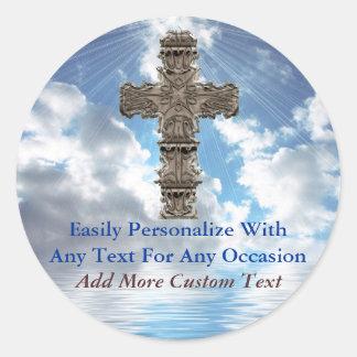 Christian Cross On Beautiful Sky Stickers