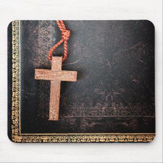 Christian Cross on Bible Mouse Pad