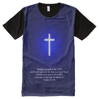 Christian Cross on blue background All-Over-Print T-Shirt