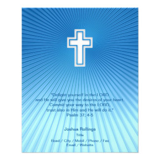 "Christian Cross on blue background 4.5"" X 5.6"" Flyer"