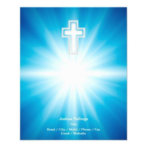 Christian Cross on blue background Custom Flyer