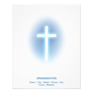 "Christian Cross on blue eliptical background 4.5"" X 5.6"" Flyer"