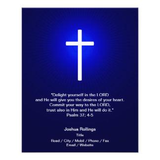 "Christian Cross on dark blue background 4.5"" X 5.6"" Flyer"