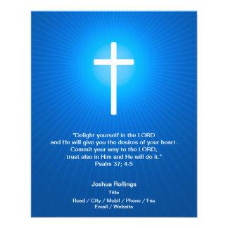 Christian Cross on dark blue background Flyer