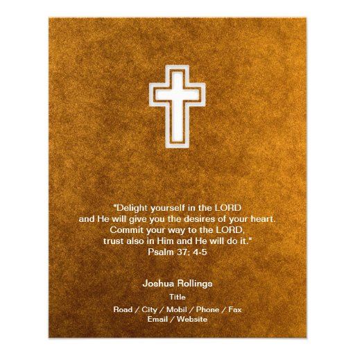 Christian Cross on gold background Flyer Design