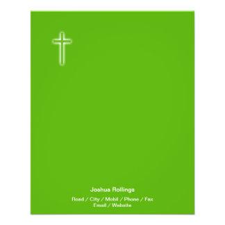 "Christian Cross on green background 4.5"" X 5.6"" Flyer"