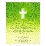 Christian Cross on green background Custom Flyer