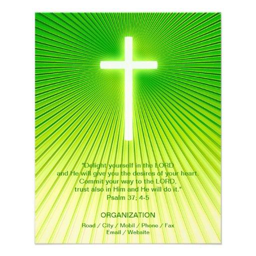 Christian Cross on green background Flyer Design