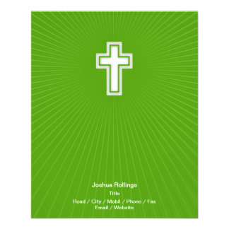 Christian Cross on green background Flyer