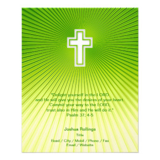 "Christian Cross on green background 4.5"" X 5.6"" Flyer"