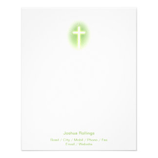 "Christian Cross on green eliptical background 4.5"" X 5.6"" Flyer"