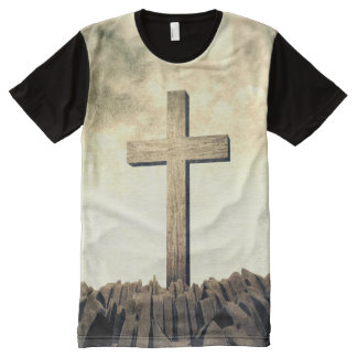 Christian Cross On Mountain All-Over-Print T-Shirt