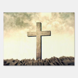Christian Cross On Mountain Lawn Sign