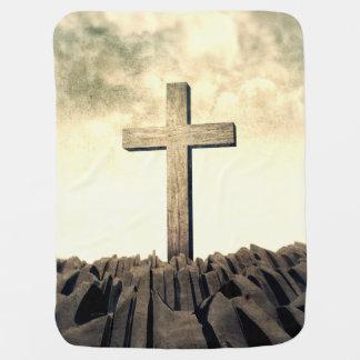 Christian Cross On Mountain Receiving Blanket