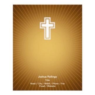 "Christian Cross on orange background 4.5"" X 5.6"" Flyer"