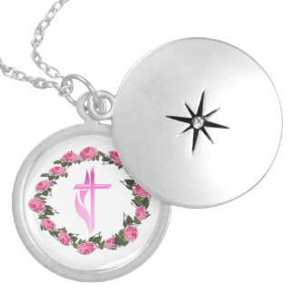 Christian cross products round locket necklace