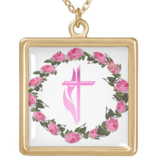 Christian cross products square pendant necklace