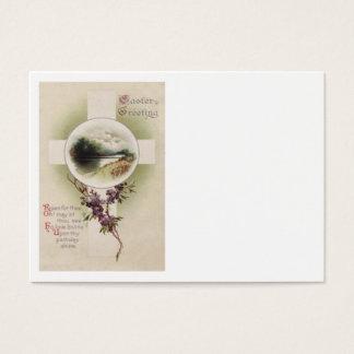 Christian Cross River Purple Flower Business Card