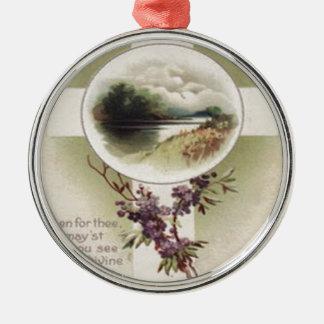 Christian Cross River Purple Flower Metal Ornament