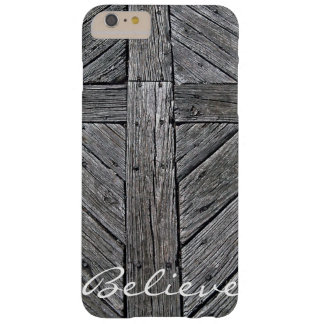 Christian cross rustic wood monogram barely there iPhone 6 plus case