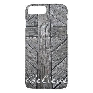 Christian cross rustic wood monogram iPhone 7 plus case