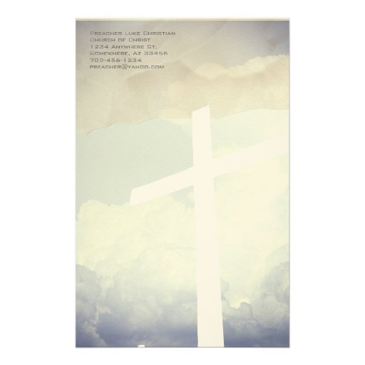 Christian Cross Stationery On Clouds