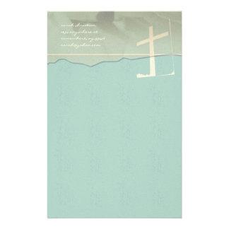 Christian Cross Stationery Rose On Aqua Blue
