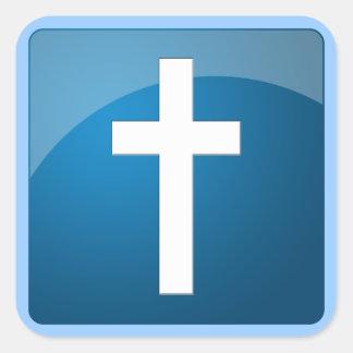 Christian Cross Square Stickers