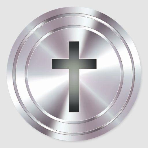 Christian Cross Symbol - chrome silver Stickers
