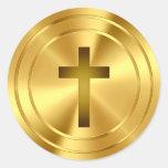 Christian Cross Symbol - gold Classic Round Sticker