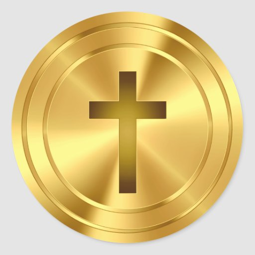 Christian Cross Symbol - gold Stickers