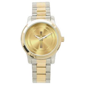 Christian Cross Symbol | gold Wrist Watch