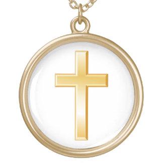 Christian Cross Symbol Round Pendant Necklace