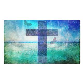 Christian Cross themed painting beautiful blue sea Business Card