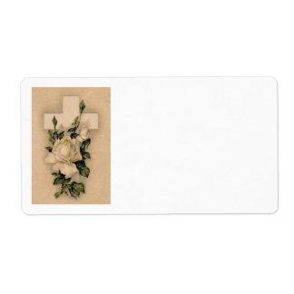 Christian Cross White Rose Label