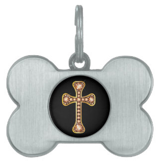 """Christian Cross with """"Amber"""" or """"Topaz"""" Pet Name Tag"""