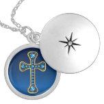 "Christian Cross with ""Aquamarine"" Stones Jewelry"