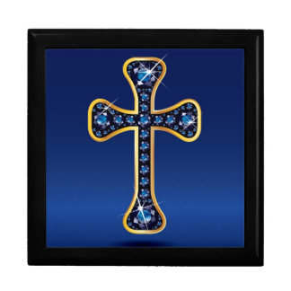"Christian Cross with ""Aquamarine"" Stones Keepsake Box"