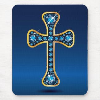 "Christian Cross with ""Aquamarine"" Stones Mouse Pad"