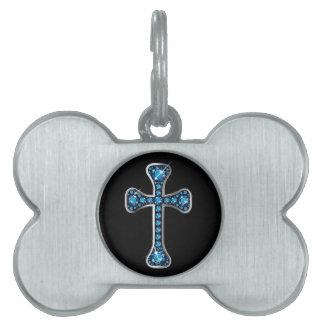 "Christian Cross with ""Aquamarine"" Stones Pet Name Tag"