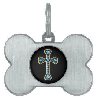 Christian Cross with Aquamarine Stones Pet Tag