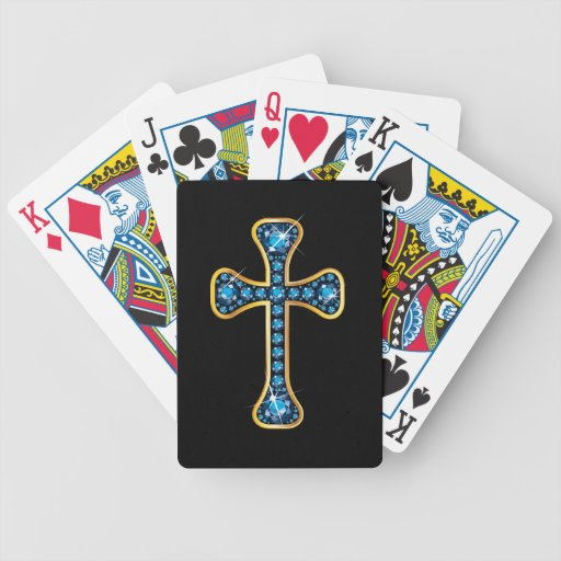 Christian Cross with Aquamarine Stones Bicycle Poker Deck