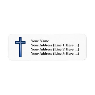 Christian Cross With Blue/White-Colored Gradient Label